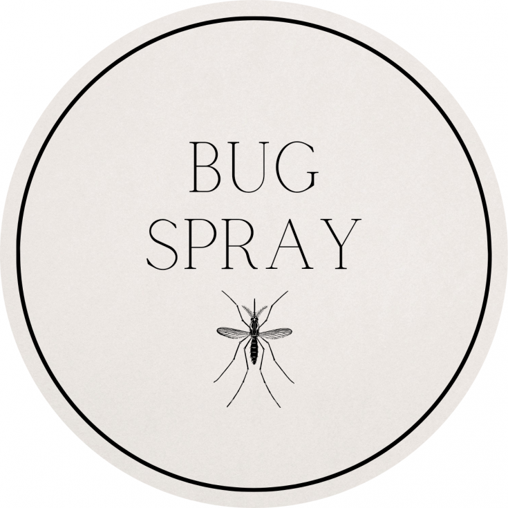 bug spray circular label with mosquito
