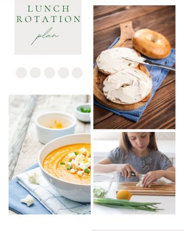 pinterest image with simple home meals for homeshoolers